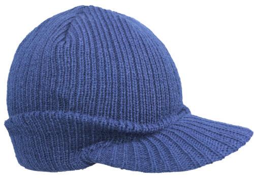 EUROTSHIRTS CLASSIC BEANIE HAT WITH PEAK BLACK NAVY KNIT CAP
