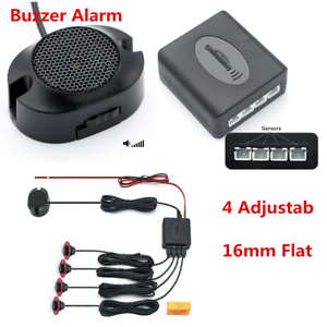 4x 16mm Flat Sensors Car Backup Parking Reversing Radar BIBI Alarm Sound Black
