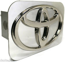 """Toyota Logo Chrome Trailer Hitch Plug Cover 2"""" Hitch Receiver Stainless Steel"""