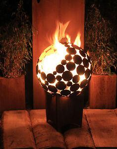 feuerstelle kugel d 55 cm mit tiefem sockel feuerkorb stahl rost ebay. Black Bedroom Furniture Sets. Home Design Ideas