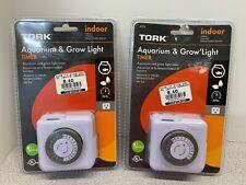 Lot Of 2 Tork Heavy Duty 15amp Indoor Aquarium Amp Grow Light Plug In Timer F 5