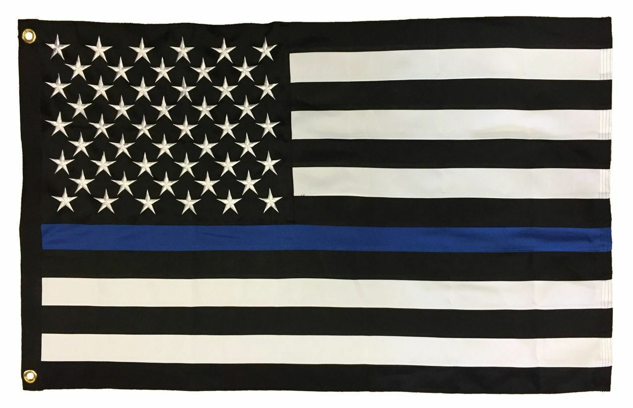 Thin Blau Line 2.5'x4' 2-Ply Polyester American Flag with grommets Free Shipping