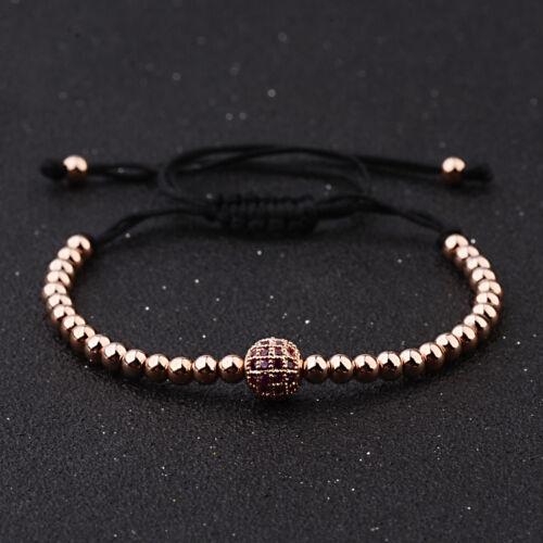 Women Men Gold Plated Micro Pave Zircon Balls Bracelet Braided Macrame Bracelets