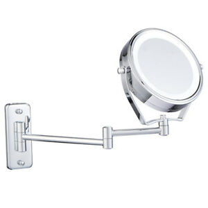 Details About 6 Led Lighted Wall Mount Bathroom Shaving Make Up Cosmetic Mirrors 7x Magnifying