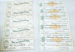 1873 Check Lot 14 US Revenue Paper #RN-D1 + 5 Bank Checks Mansfield, Ohio