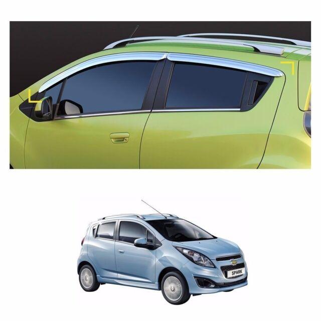 Sun Chrome Side Window Visor Vent Guards Rain for Chevrolet Spark 2012-2015