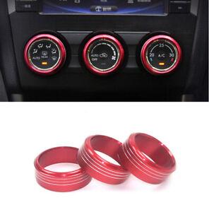 3X Black Aluminum AC Climate Control Knob Ring Covers For Subaru Impreza WRX//STi
