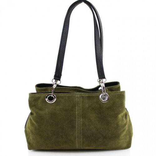 Ladies Party Casual Triple Compartment Zipped Italian Women Suede Shoulder Bag