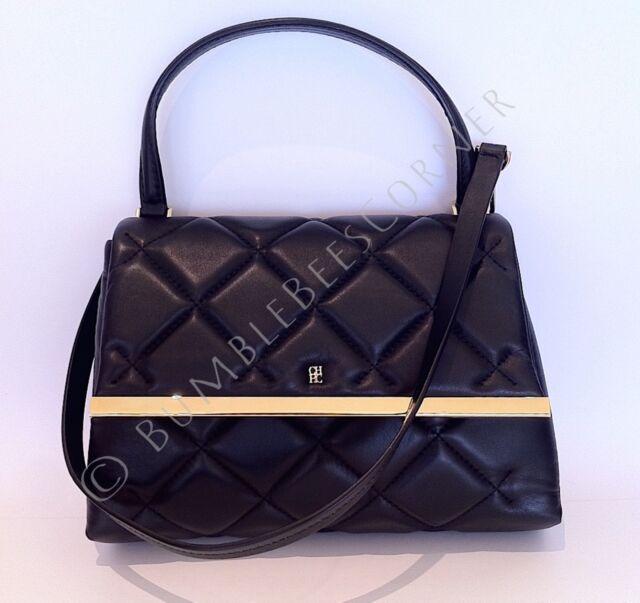 Carolina Herrera Camelot Black Quilted Leather Shoulder Bag Ch Handbag Nwt
