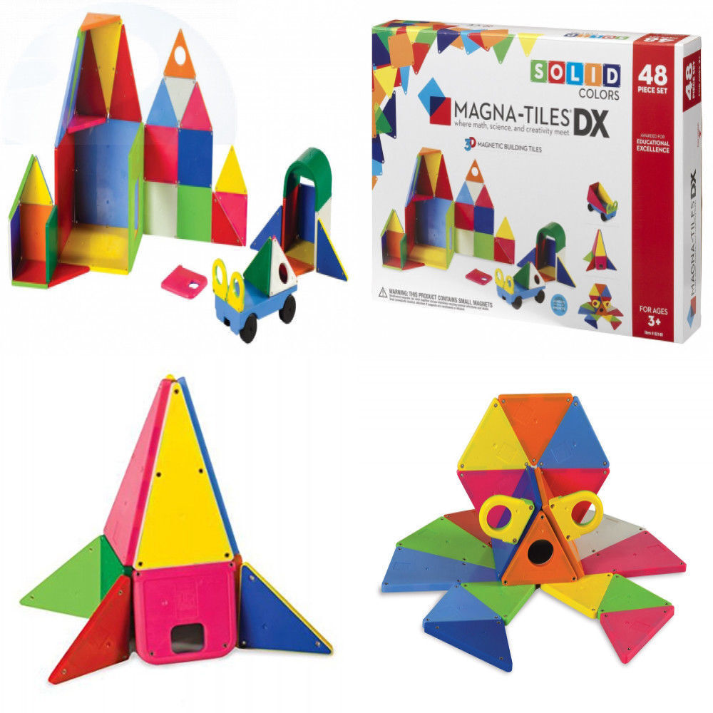 Magna-Tiles 02148 Solid Farbes 48 Piece DX Set Toy