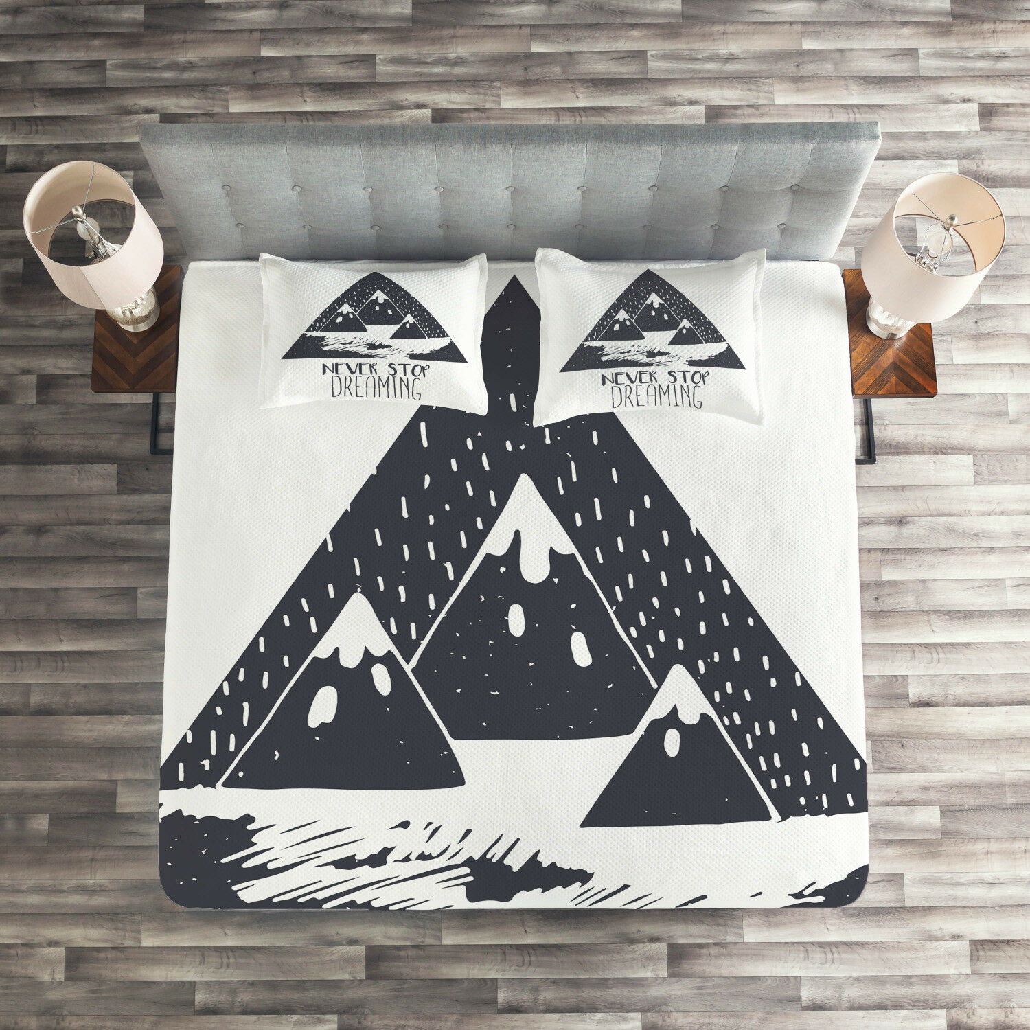 Inspirational Quilted Coverlet & Pillow Shams Set, Snowy Mountain Print