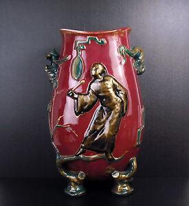 """""""Le gong"""" Vase japonisant Lie de vin vers 1900 32cm gôut Japon Japan porcelaine"""