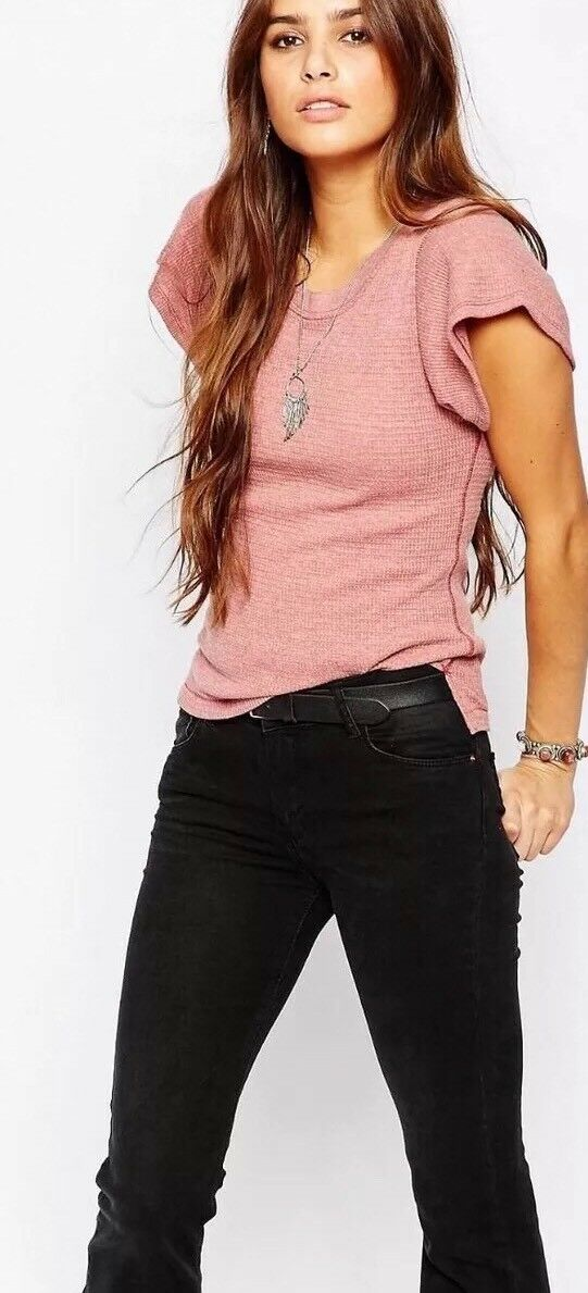 NWT Free People SZ S Flutter Sleeve Thermal Waffle Tee Shirt Red Clay