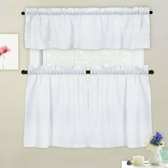 3 Pieces Kitchen Tier Curtains and Valance Set for Bathroom Kitchen Cafe  Curtain