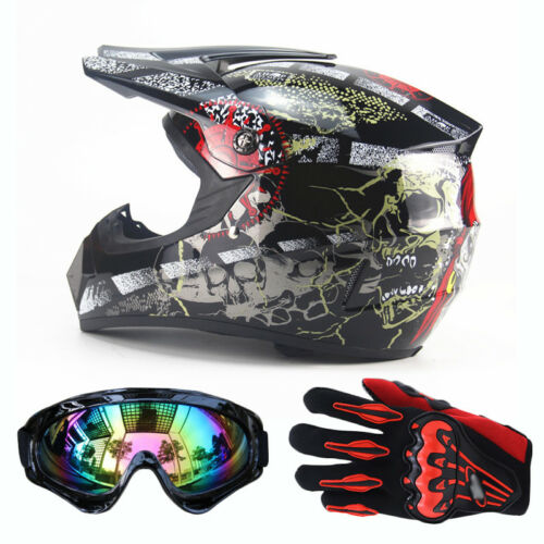Gloves DOT Dirt Bike S-XL Safety FS Motorcycle Off-Road ATV Helmets Goggles