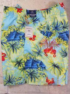 George-Men-039-s-Swim-Trunks-Shorts-6-034-Inseam-Hawaiian-Print-Size-XL-NWT