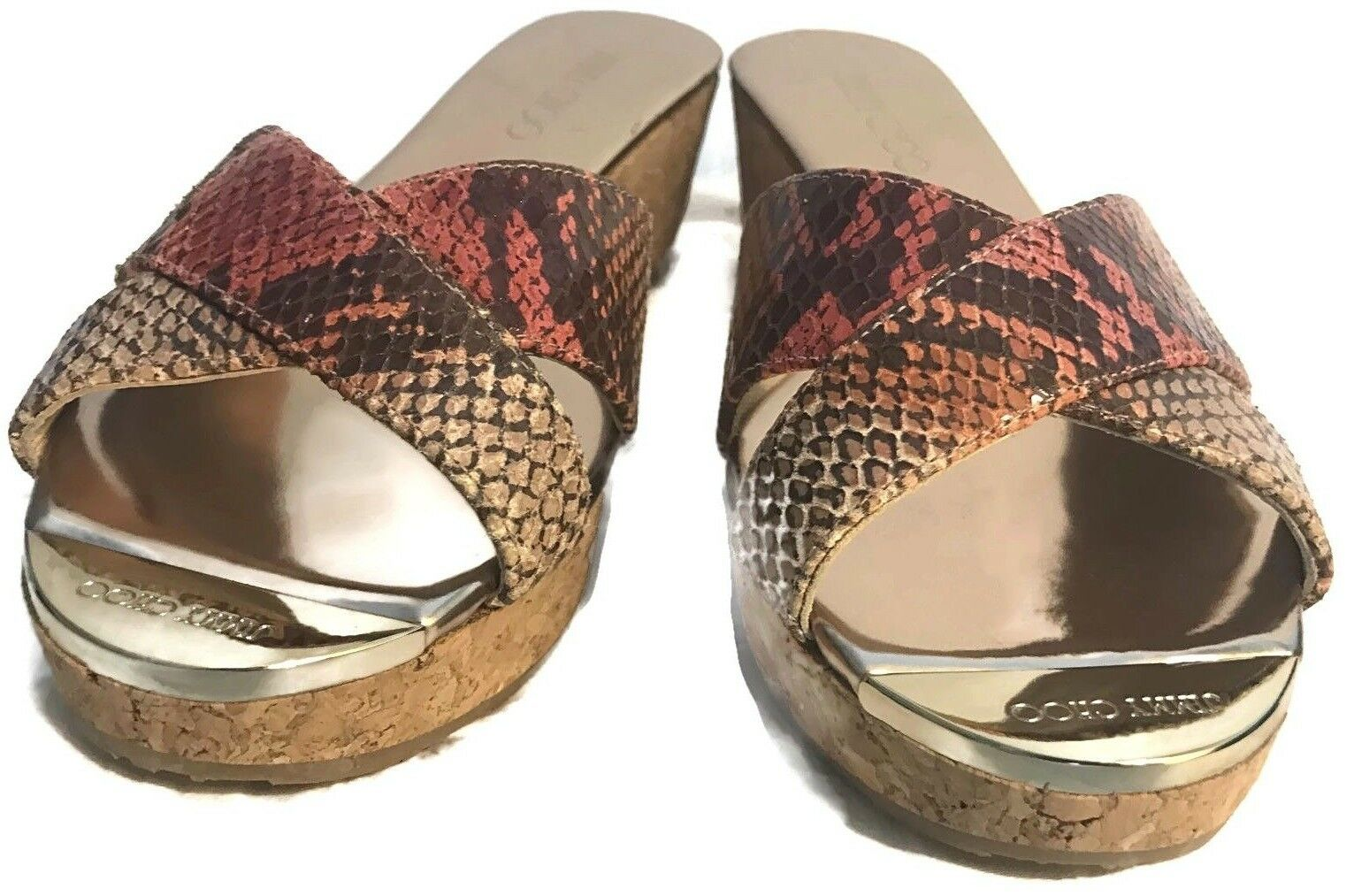 Jimmy Choo Panna Snake Leather Crisscross Slide Slide Slide Sandal Cork Wedge shoes 8.5 NWOB 2cf42c