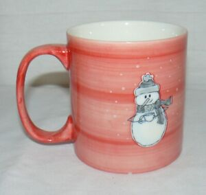 EDDIE-BAUER-12-OZ-WINTER-CERAMIC-SNOWMAN-HOLDING-STEAMING-CUP-CORAL-COFFEE-MUG