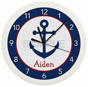 Image Is Loading Navy And Red Anchor Wall Clock Nursery Decor