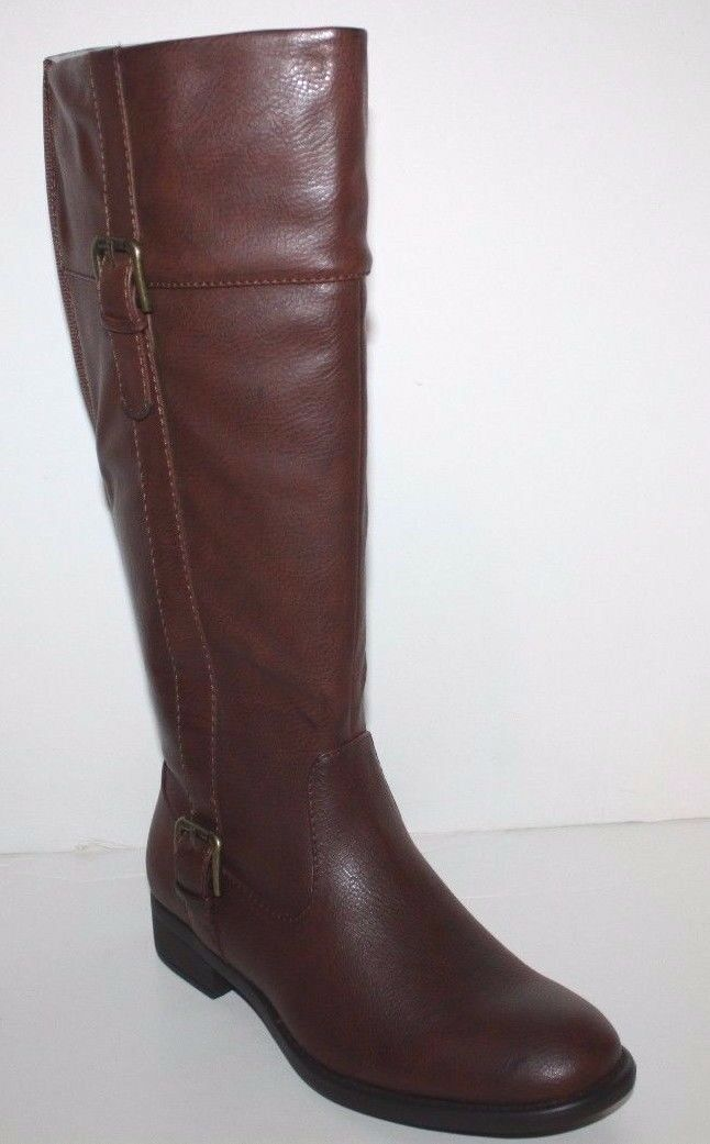 GH Bass NIB Women Josie Wide Calf Brown Faux Leather Riding Boots