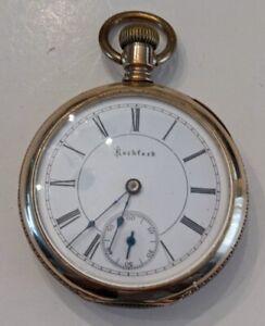 1893 Rockford 66 17 Jewel Open Face Pocket Watch W/Columbia case. Runs Great