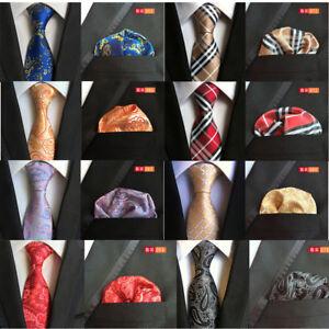 Men-Fashion-Tie-Pocket-Square-Set-Wedding-Party-Gift-Stripe-Necktie