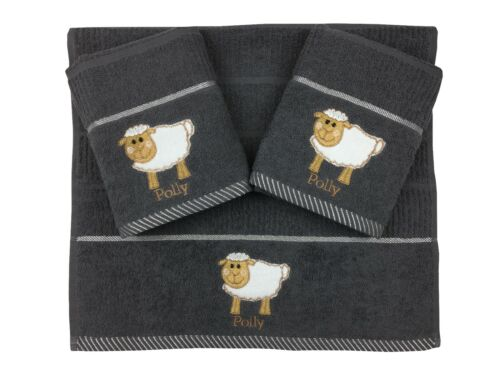 Riggs Set Of 3 Grey Sheep Embroidered Kitchen Tea Towels 40cm x 70cm 100/% Cotton