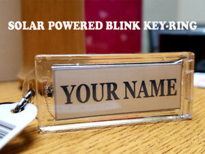 "Acrylic Blinking Solar Powered Custom Name Key Chain 2.6"" Long, WITH YOUR NAME."