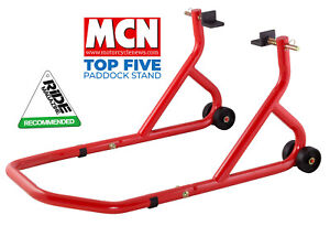 NEW-UNIVERSAL-MOTORCYCLE-SPORTBIKE-TRACK-DAY-GARAGE-PIT-REAR-PADDOCK-STAND-RED