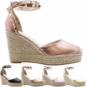 48321b89f95f Ladies Women High Wedge Stud Espadrilles Platform Ankle Strap ...