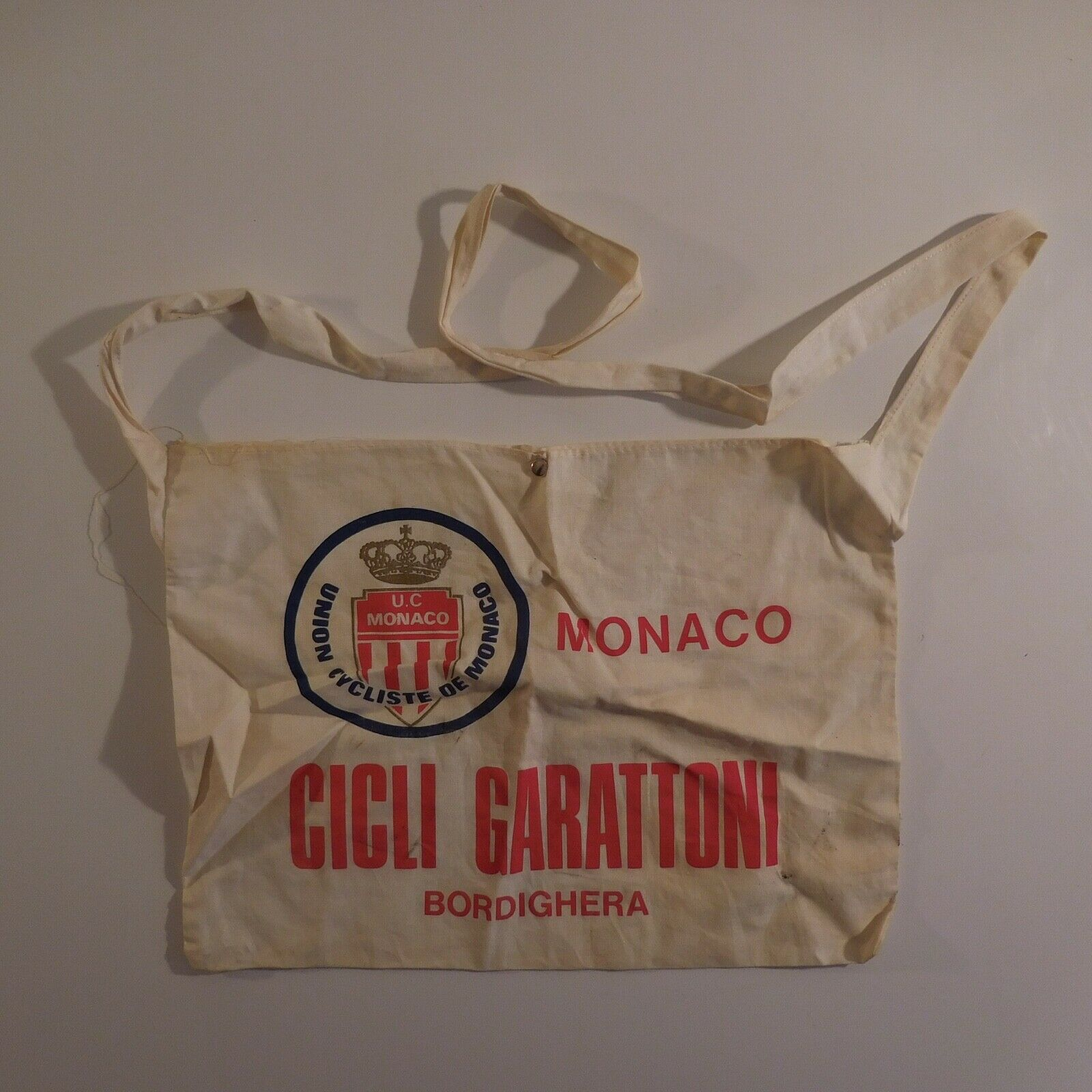 Musette coureur Union Cycliste Monaco 1984 GARATTONI BORDIGHERA Italie N3653