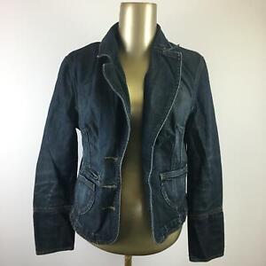 CASION Button Down Long Sleeve Blue Denim Jean Jacket Women's Size Small