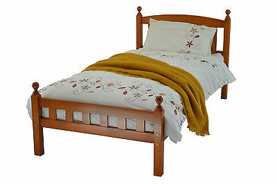 3FT SINGLE CHERRY WOODEN FLORENCE BED FRAME + 3FT SINGLE SPRUNG FLEX MATTRESS.