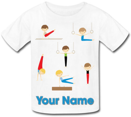 BOY/'S GYMNASTICS PERSONALISED SUBLIMATION T-SHIRT BOY/'S GIFT /& NAMED TOO