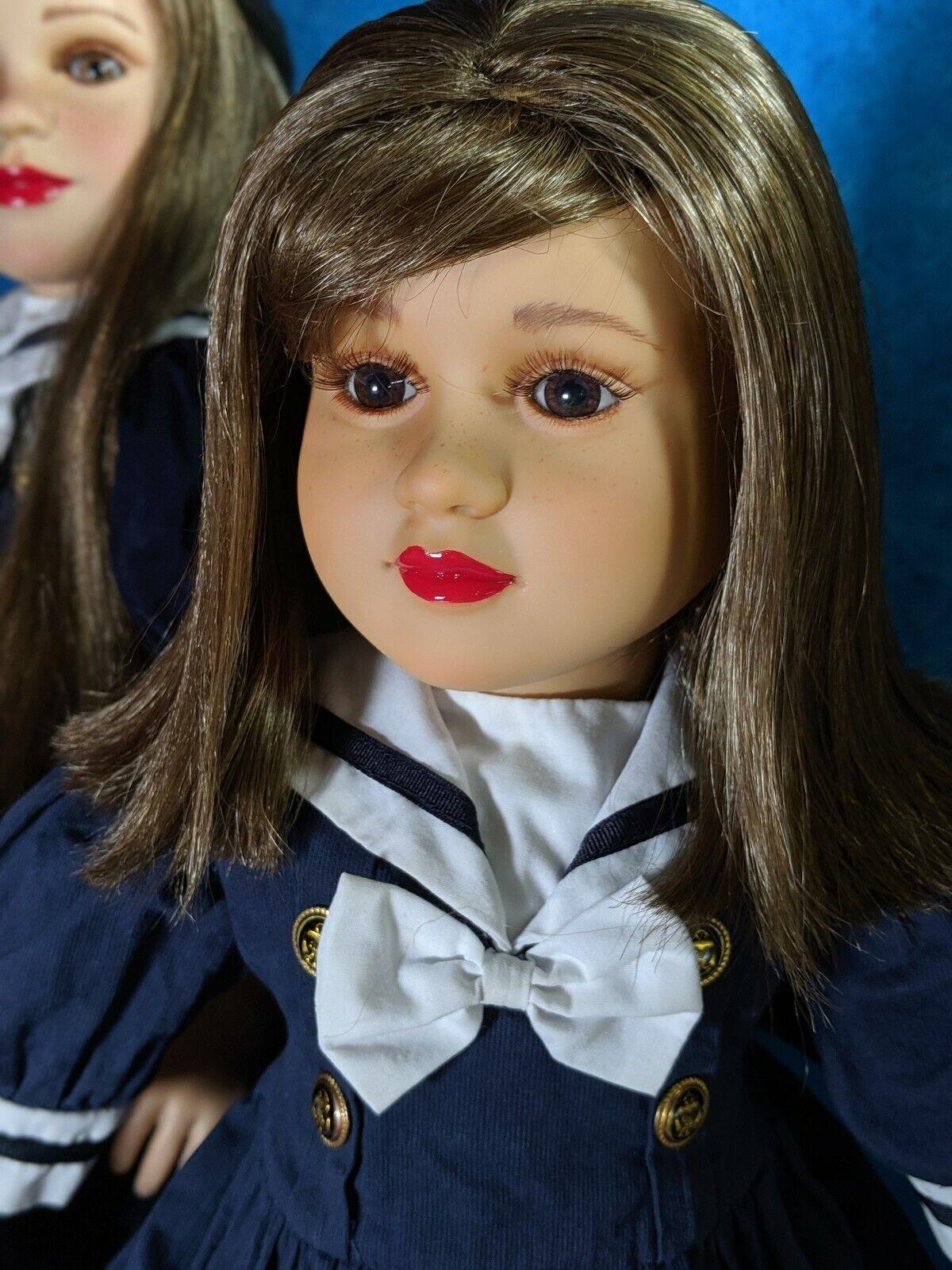 My twinn Non Posable doll, nautical, blonde, dark braun eyes, soft bodied,