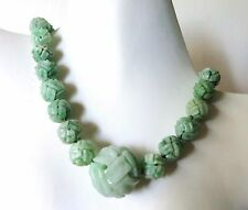 """HUGE VINTAGE CHINESE CARVED ENDLESS KNOT QILIN JADE BEADS NECKLACE TO 28mm 17"""""""