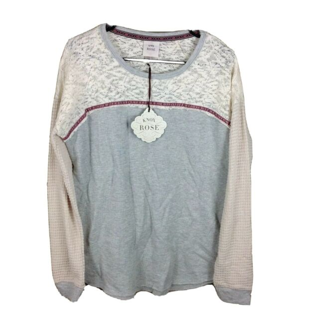 Knox Rose Womens Size Large Gray Lace Tunic Shirt Long Sleeve New With Tags