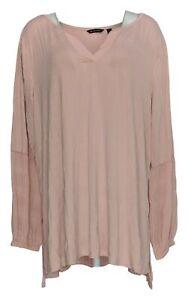 H-by-Halston-Women-039-s-Plus-Sz-Top-3X-Knit-W-Chiffon-Sleeves-Pink-A343458
