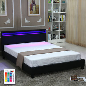 Modern Queen Size Bedroom Platform Bed Designer Frame Headboard