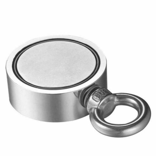 400LB Twin Sided Round Fishing Magnet Strong Neodymium Pull Force Treasure Hunt