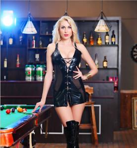 BLACK-Lace-Up-Gothic-PVC-Leather-Mini-Dress-amp-Thong-Clubwear-Skirt-8-10-12-14-16