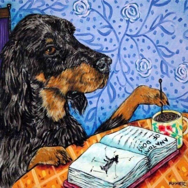 4x4  German Shepherd dog bath glass art tile coaster gift JSCHMETZ modern folk