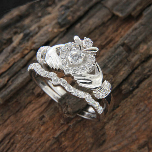 .50Ct Round Diamond Claddagh Engagement Bridal Set Ring 14k White Gold Over