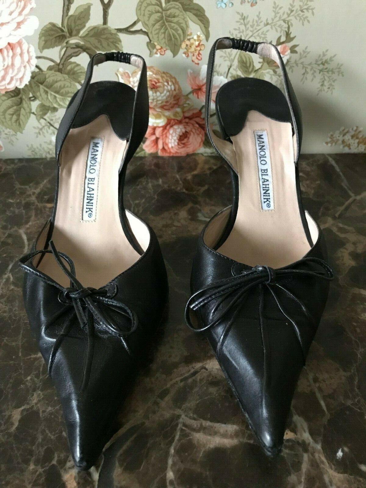 Manolo Blahnik Black Leather Slingback Pumps - Size 37