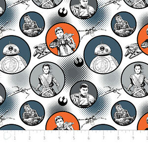 Star-Wars-The-Force-Awakens-Badges-White-Camelot-100-cotton-Fabric-by-the-yard