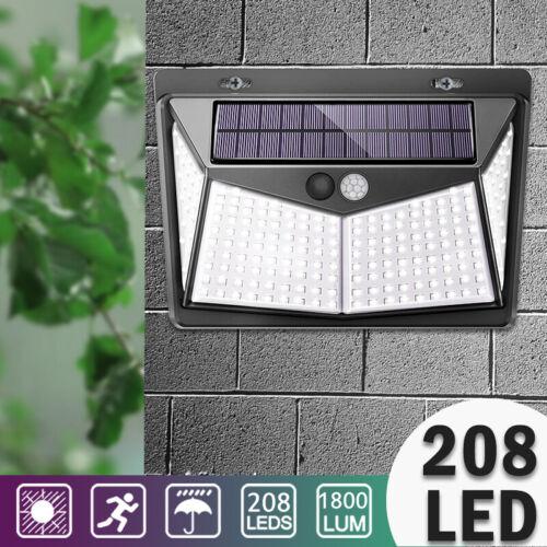 Waterproof 208 LED Solar Power Motion Sensor Lights Outdoor Security Wall Lamp