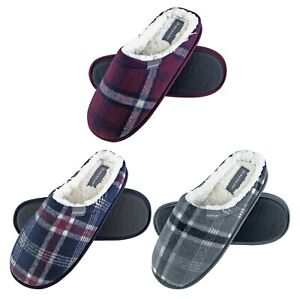 Dunlop-Mens-Warm-Plush-Fleece-Lined-Slip-On-Mule-Checked-Plaid-House-Slippers
