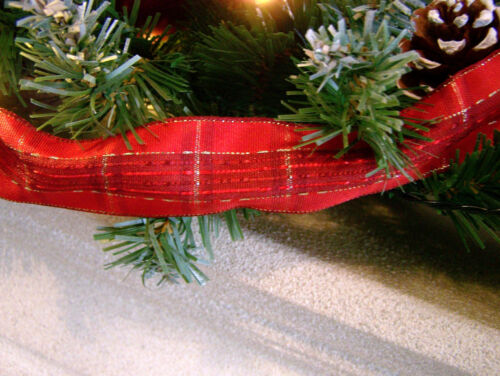 Luxe 1.8 m Rouge Babiole neige Tipped Christmas Garland Tartan Ruban Acorn éclairé 6 ft environ 1.83 m