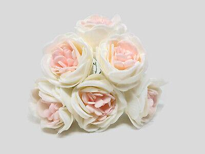 6 x DUSKY VINTAGE PEACH COLOURFAST FOAM PEONY ROSES 9cm  WEDDING BRIDAL