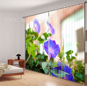 3D Morning Glory Blockout Photo Curtain Printing Curtain Drapes Fabric Window CA
